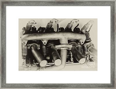 Henderson Motorcycle Engine With A  Heath Parasol Kit  Framed Print by Wilma  Birdwell