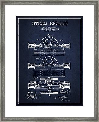 Henderson Steam Engine Patent Drawing From 1881- Navy Blue Framed Print