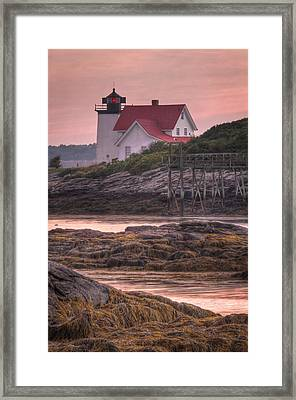 Hendricks Head Light At Sunset - Portrait Framed Print by At Lands End Photography