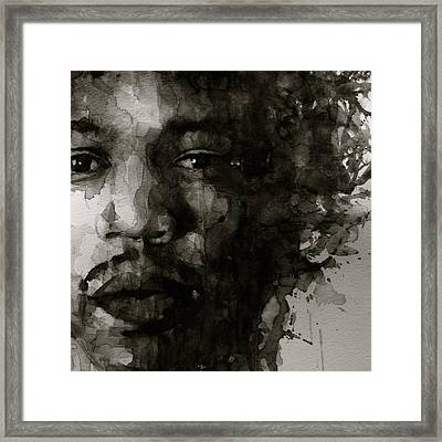 Hendrix   Black N White Framed Print by Paul Lovering