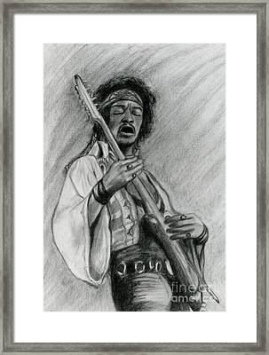 Framed Print featuring the drawing Hendrix by Roz Abellera Art