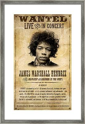 Hendrix Wanted Poster Framed Print by Gary Bodnar