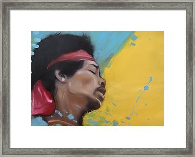 Hendrix Woodstock Framed Print by Matt Burke