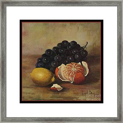 Henk Bos Fruits Still Life Grapes Lemon And Orange Framed Print by Pierpont Bay Archives