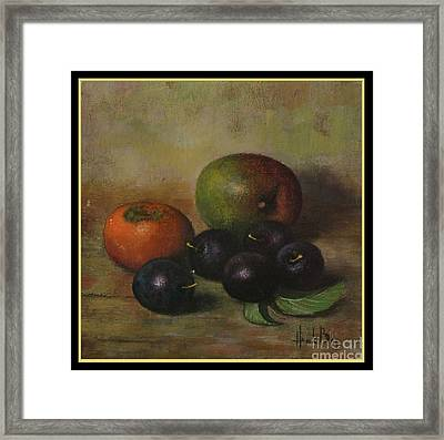 Henk Bos Fruits Still Life Plums  Framed Print by Pierpont Bay Archives