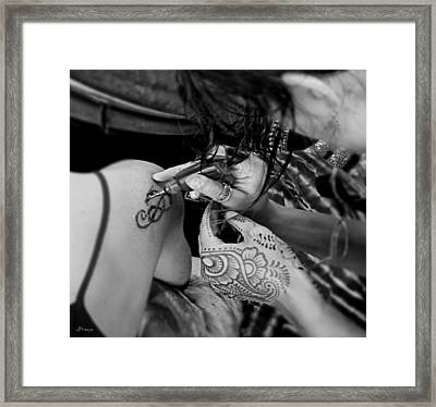 Framed Print featuring the photograph Henna Artist At Work by Jennie Breeze