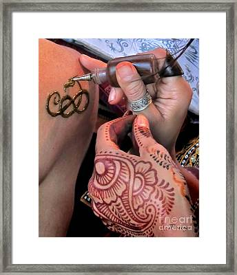 Framed Print featuring the photograph Henna Hands At Work by Jennie Breeze