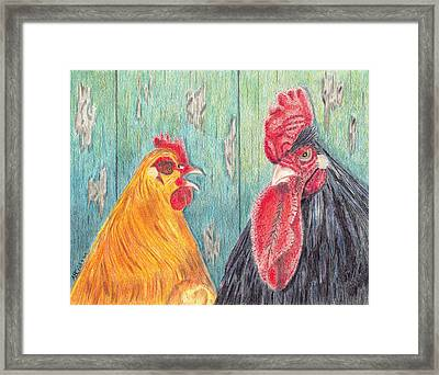 Framed Print featuring the drawing Henpecked by Arlene Crafton