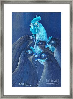 Henpecked In Blue Framed Print