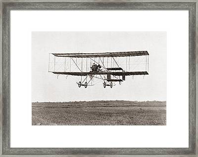 Henri Farman Winning The Grand Prix Of Two Thousand Pounds For The Longest Flight Of 112 Miles Framed Print by Bridgeman Images