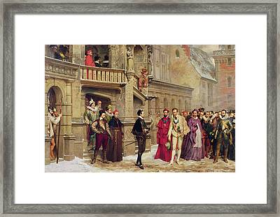 Henri IIi And The Duc De Guise, 1855 Oil On Canvas Framed Print by Pierre Charles Comte