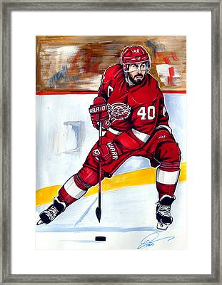Henrik Zetterberg Of The Detroit Red Wings Framed Print