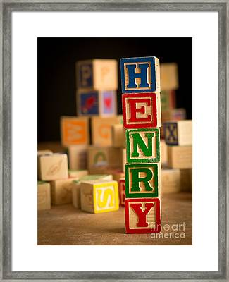 Henry - Alphabet Blocks Framed Print by Edward Fielding