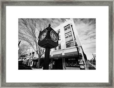 henry birks and sons jewellry store and town clock downtown Saskatoon Saskatchewan Canada Framed Print by Joe Fox