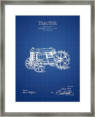 Henry Ford Tractor Patent  From 1919 - Blueprint Framed Print by Aged Pixel