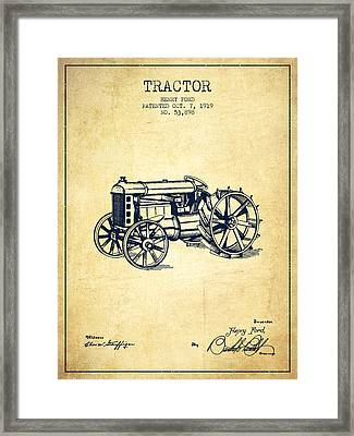 Henry Ford Tractor Patent  From 1919 - Vintage Framed Print by Aged Pixel