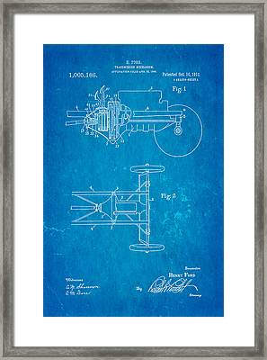 Henry Ford Transmission Mechanism Patent Art 1911 Blueprint Framed Print by Ian Monk