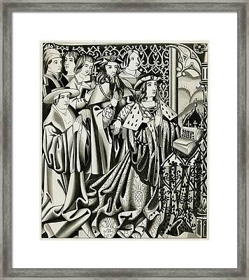 Henry Vi And His Court At  Prayer Framed Print by Mary Evans Picture Library