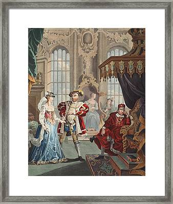 Henry Viii And Anne Boleyn Framed Print by William Hogarth