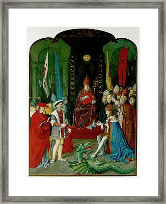 Henry Viii Charles V And Leo X Framed Print by British Library