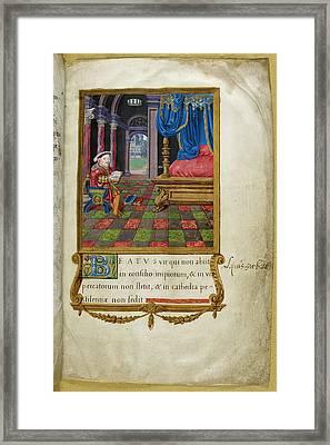 Henry Viii Reading In Chamber Framed Print
