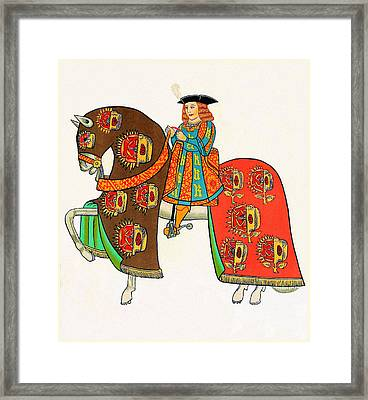 Henry Viii - Tournament Servant - Facing Left Framed Print by Charlie Ross