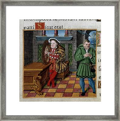 Henry Viii With Harp Framed Print by British Library