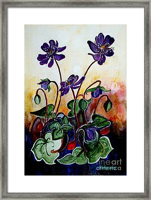 Hepatica After A Design By Anne Wilkinson Framed Print by Veronica Rickard