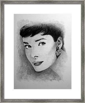 Hepburn Black And White Framed Print by William Walts