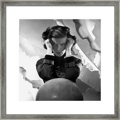 Hepburn Pout Framed Print by Cecil Beaton