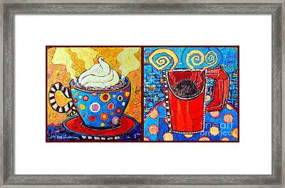 Her And His Coffee Cups Framed Print