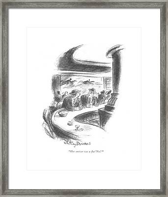 Her Answer Was A ?at 'no.' Framed Print