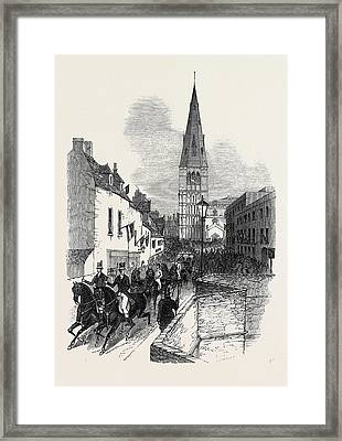 Her Majestys Late Visit To Burghley, The Procession Framed Print