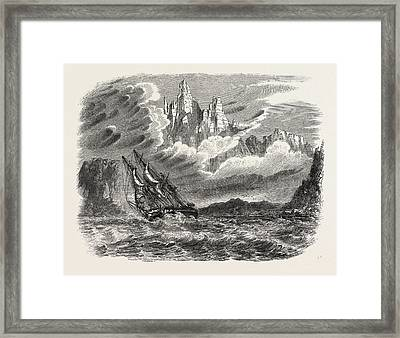 Her Majestys Ship Meander In A Squall Framed Print