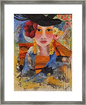 Her Red Flower Framed Print by Glory Wood