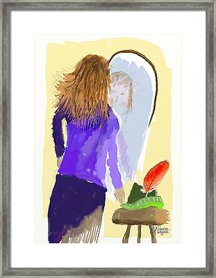Framed Print featuring the digital art Her Reflection by Arline Wagner