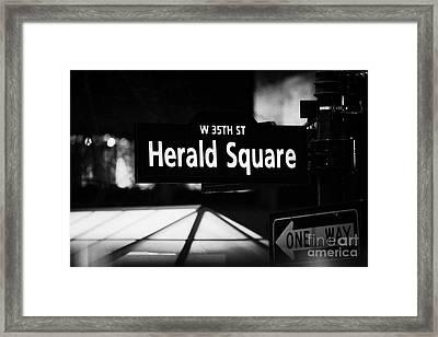 Herald Square West 35th Street Illuminated Street Sign At Night New York City Framed Print