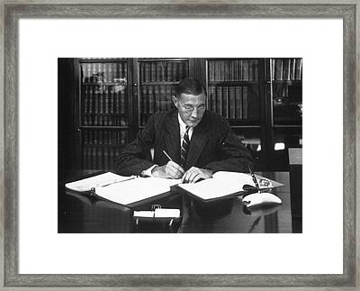 Herbert Gasser Framed Print by National Library Of Medicine