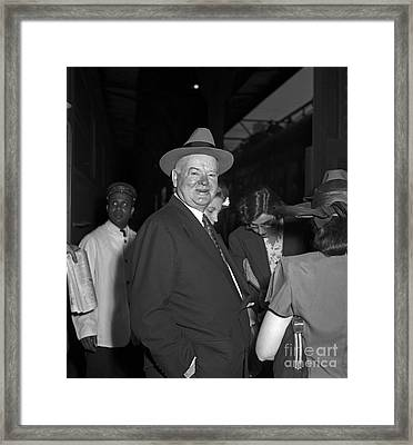Framed Print featuring the photograph Herbert Hoover 1946 by Martin Konopacki Restoration