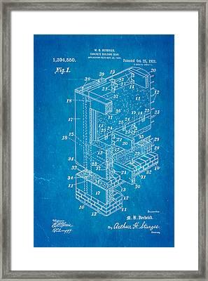 Herbrick Concrete Building Slab Patent Art 1921 Blueprint Framed Print by Ian Monk