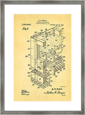 Herbrick Concrete Building Slab Patent Art 1921 Framed Print by Ian Monk
