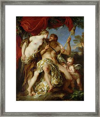 Hercules And Omphale, 1724 Oil On Canvas Framed Print