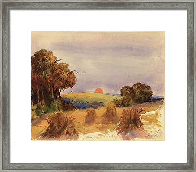 Hercules Brabazon Brabazon, A Cornfield At Sunset Framed Print by Quint Lox