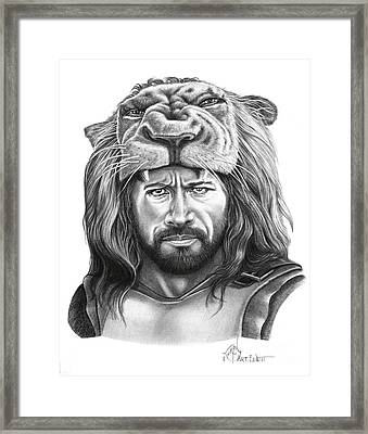 Hercules-dwayne Johnson Framed Print by Murphy Elliott