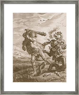 Hercules Fights The Lernian Hydra Framed Print by Bernard Picart