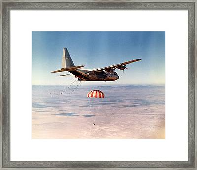 Hercules Hc-130 Capsule Recovery, 1969 Framed Print by Science Photo Library