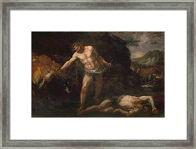 Hercules Slays The Giant Cacus And Steals Back The Cattle Of Geryon Framed Print by Giambattista Langetti