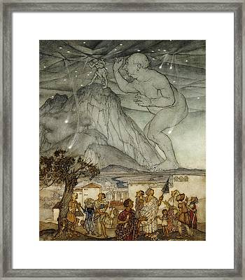 Hercules Supporting The Sky Instead Of Atlas Framed Print by Arthur Rackham