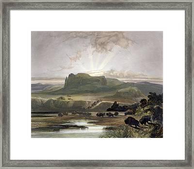 Herd Of Bison On The Upper Missouri Framed Print by Karl Bodmer