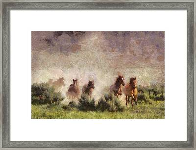 Framed Print featuring the painting Herd Of Wild Horses by Georgi Dimitrov